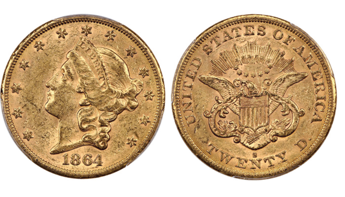 Shown here is Lot 2439, the 1864-S Liberty Head $20 with reeded edge graded MS60 by PCGS that realized $5,500 at the Oct. 20 auction.