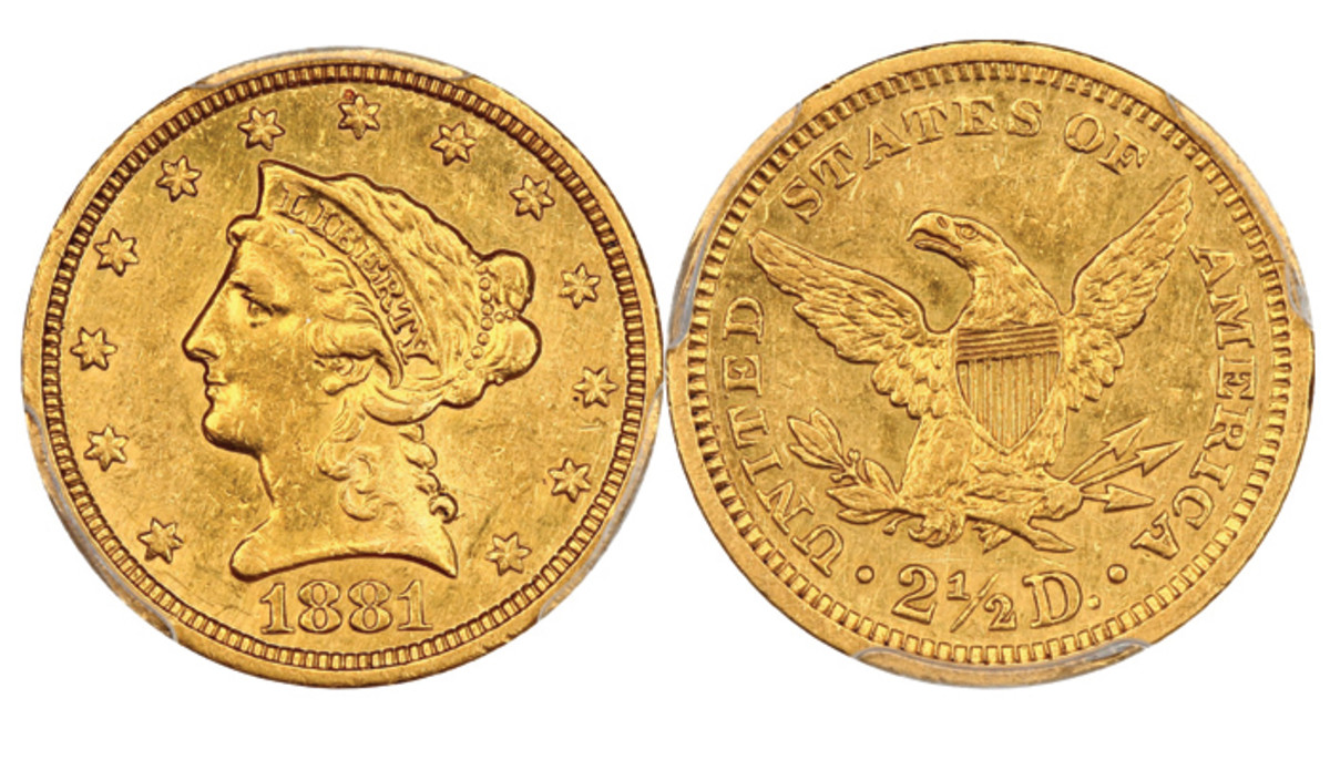 Lot 2404, an 1881 Liberty Head $2 ½ with reeded edge graded AU50 by PCGS that realized $5,350 at the Oct. 20 auction.