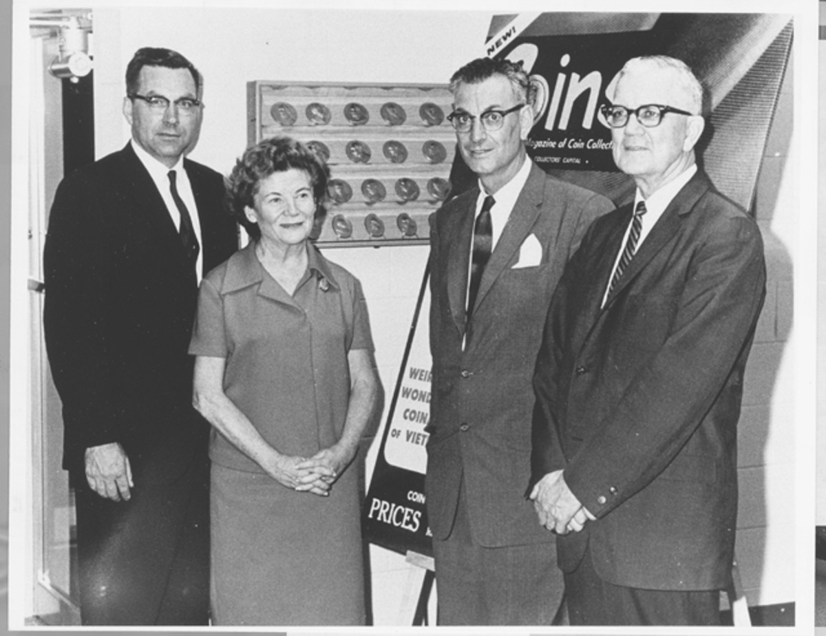 A 1965 summit in Iola saw, left to right below, Chet host U.S. Mint Director Eva Adams, Royal Canadian Mint Director Norval Parker and Red Book author R.S. Yeoman.