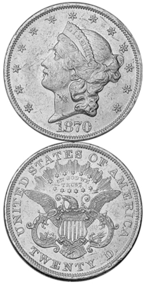 """An 1870 gold piece from Philadelphia has a retail price in XF40 of around $1,800, not that much more than gold value. An 1870 two-cent piece lists for $115. An 1870 Seated Liberty dollar is $912. Carson City Mint issues of that year carry what can be called """"the CC premium."""""""