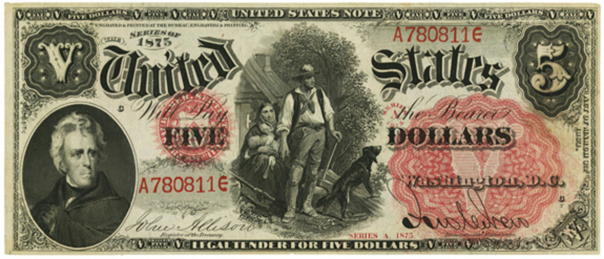 Everything except the back was printed by the BEP on this Series of 1875 legal tender note when the report cited herein was written. (Heritage Auctions archives photo)