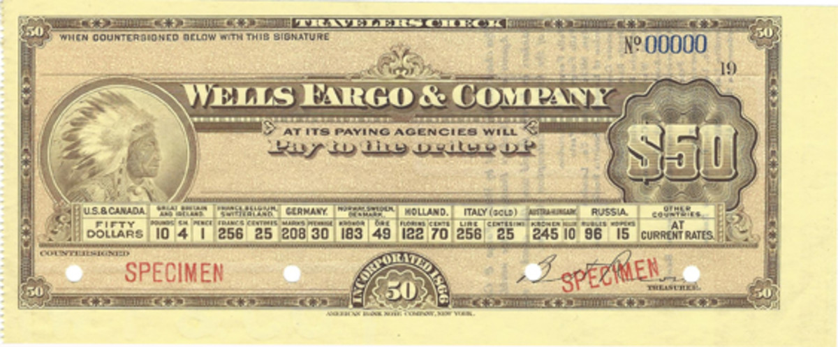 Perhaps among the most desired early traveler's checks are those produced for Wells Fargo & Co., for obvious reasons. These were made in five denominations—10, 20, 50, 100 and 20 dollars. Printer was ABN.