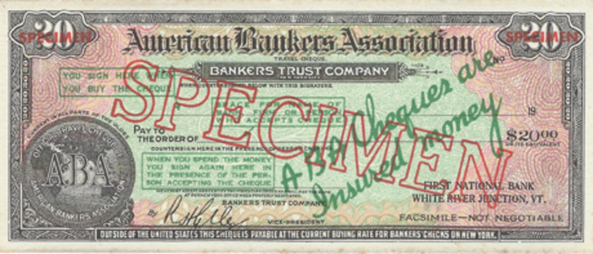 Traveler's checks followed the lead of U.S. paper money with smaller-size versions. This ink blotter was the American Bankers Association's way of popularizing its traveler's checks, but they ceased production in the early 1930s.