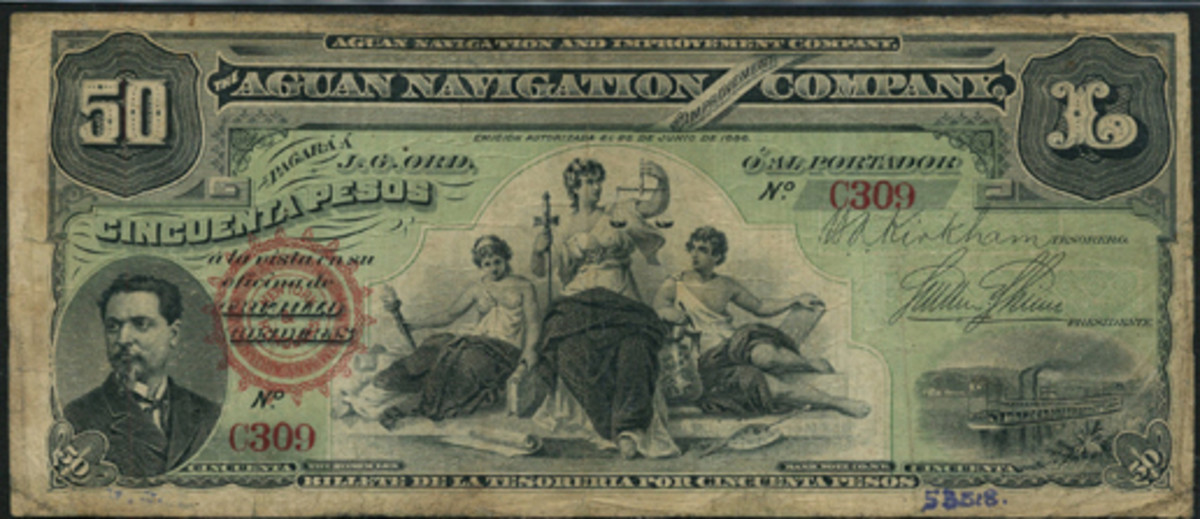 Rare Honduran Aguan Navigation and Improvement Co. 50 pesos of June 25, 1886, P-S107a. Graded PMG 20 NET, it carries an estimate of $2,000-2,500. (Image courtesy and © Spink, London)