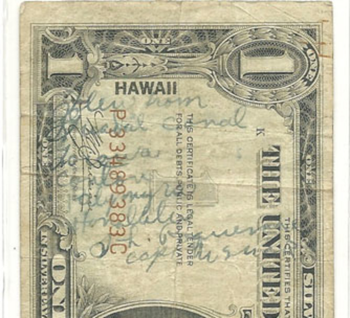 Fig. 5. On the face of the Barnum note (Fig. 4 above), the flight captain recorded the entire flight from Guadalcanal to Honolulu with the various stops along the way.