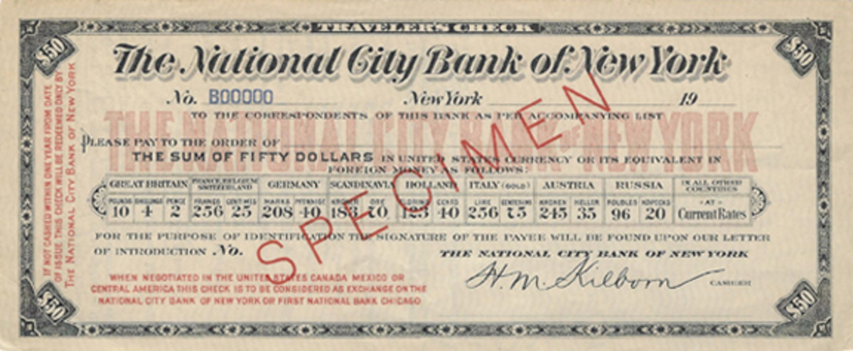 Around 1906 the National City Bank of New York was issuing this style of traveler's check; it was lithographed, contrary to most others of those years which were printed from engraved plates. Printer is not known.
