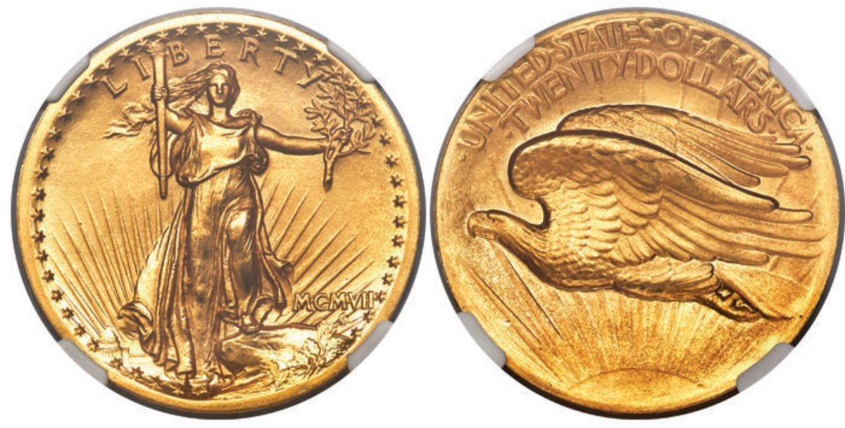 A 1907 Saint-Gaudens $20 gold coin, graded Prf-67+, drove bidding up to a final hammer price of $168,000.