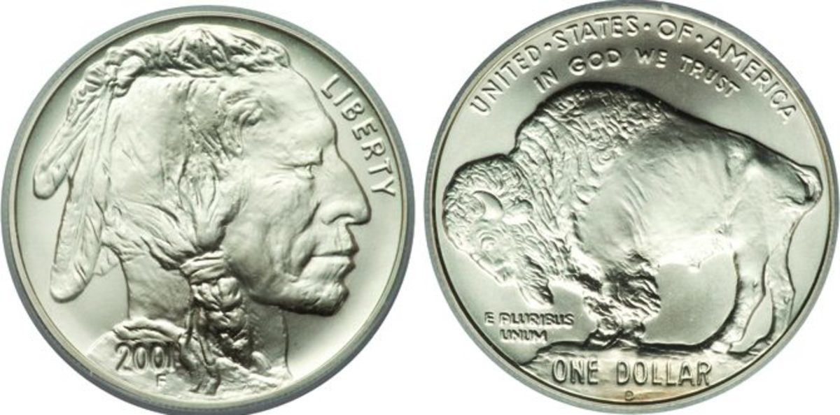 A 2001 American Buffalo dollar graded MS-70 by ICG. (Images courtesy Heritage Auctions)