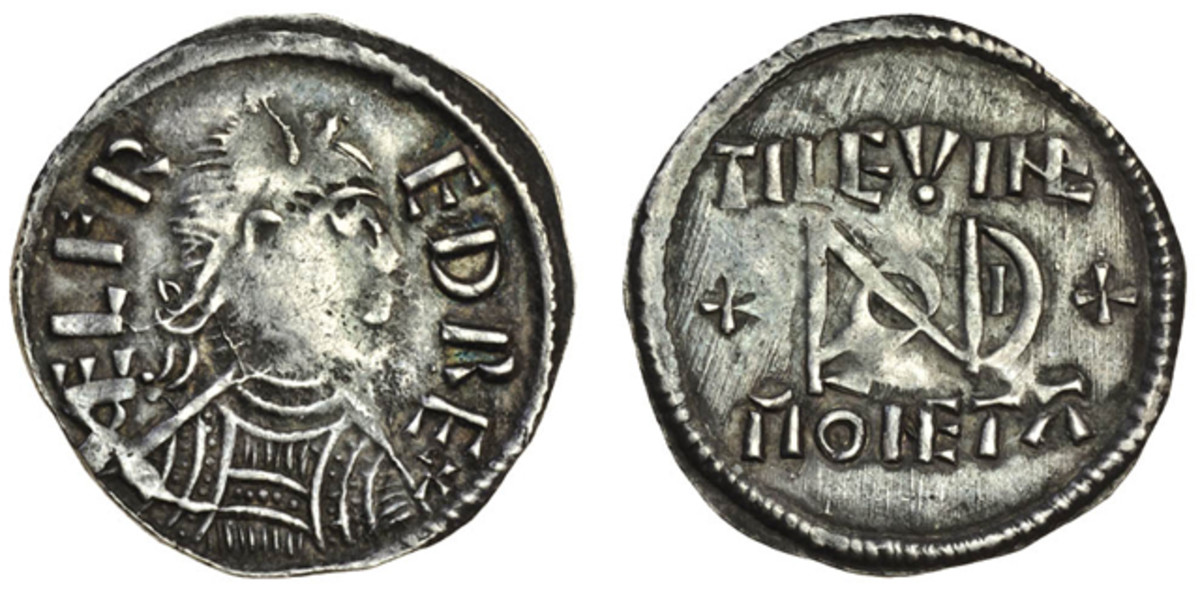 Highest priced Alfred the Great penny c.880-883 struck at London by Tilewine. The reverse shows the London monogram used from 880 following Alfred's assumption of power over London. Despite the center weaknesses the coin was graded gVF and easily made $10,296.Image courtesy of and © Spink UK.