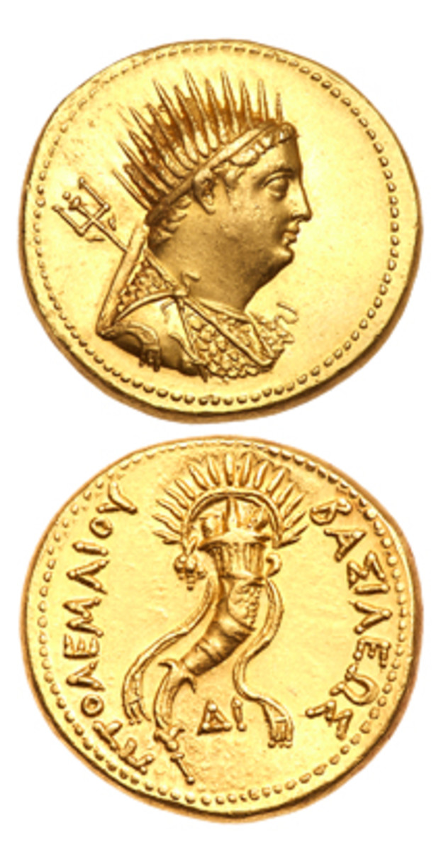 Superb gold mnaieion of Ptolemy IV honoring his father Ptolemy III. In mint state, it realized $24,675 at Goldberg's Pre-Long Beach sale. (Image courtesy & © Ira & Larry Goldberg)