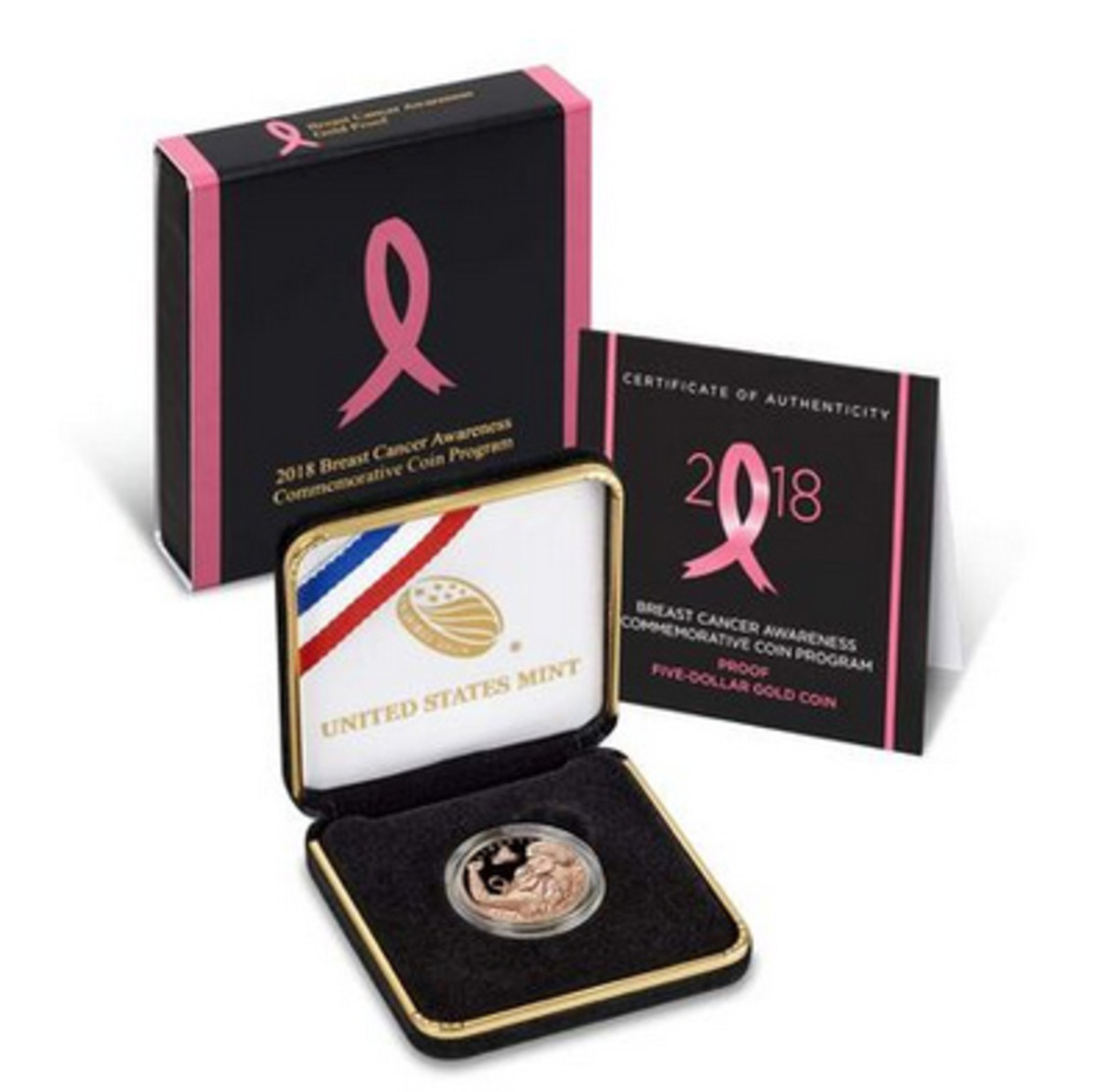The Breast Cancer Awareness pink gold $5 commemorative coin went on sale March 15, with a $35 surcharge benefitting the Breast Cancer Research Foundation.