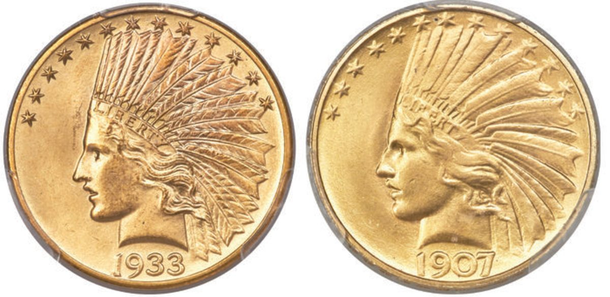 A pair of Indian Head $10 gold coins earned top-lot honors during Heritage's Long Beach Expo U.S. Coin Auction. $408,000 was the price tag for a 1933 example graded MS-65 (left), while a 1907 Rolled Rim Variety graded MS-65 brought $240,000. (All images courtesy Heritage Auctions, HA.com.)