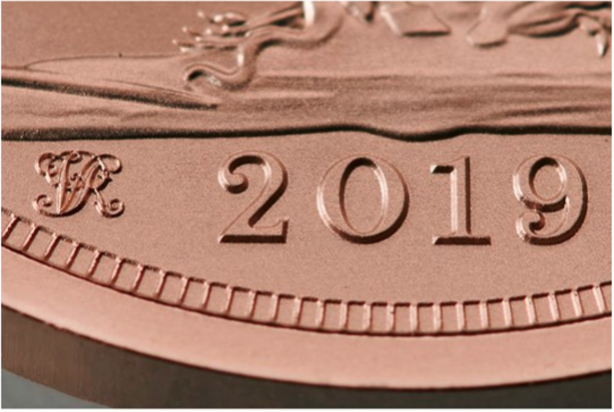 Closeup of the special Strike. (Image courtesy of The Royal Mint.)