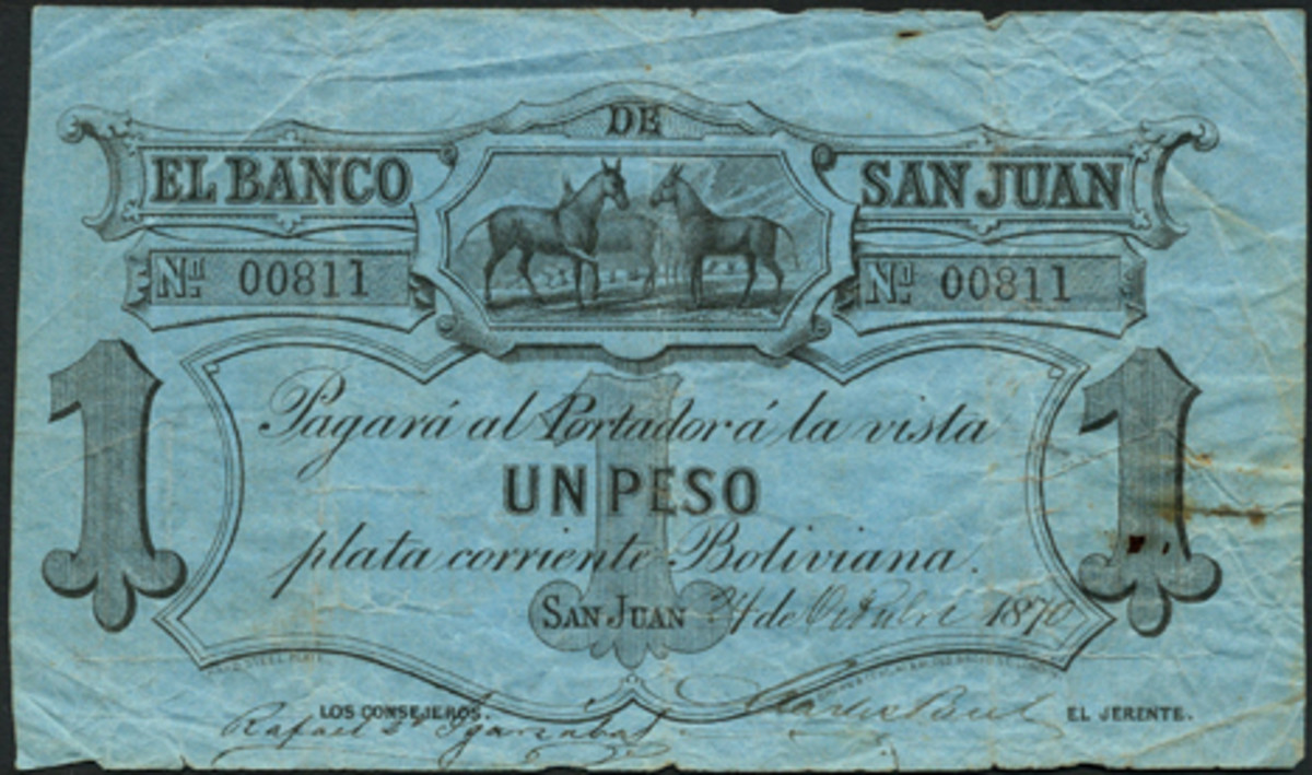 Discovery issue: Argentina's Banco de San Juan is absent from the 'Standard Catalog of World Paper Money.' This one peso issue dated Oct. 24, 1870, will be offered in Spink's Jan. 12 New York sale in VF with an estimate of $400-500. (Image courtesy and © Spink, London.)