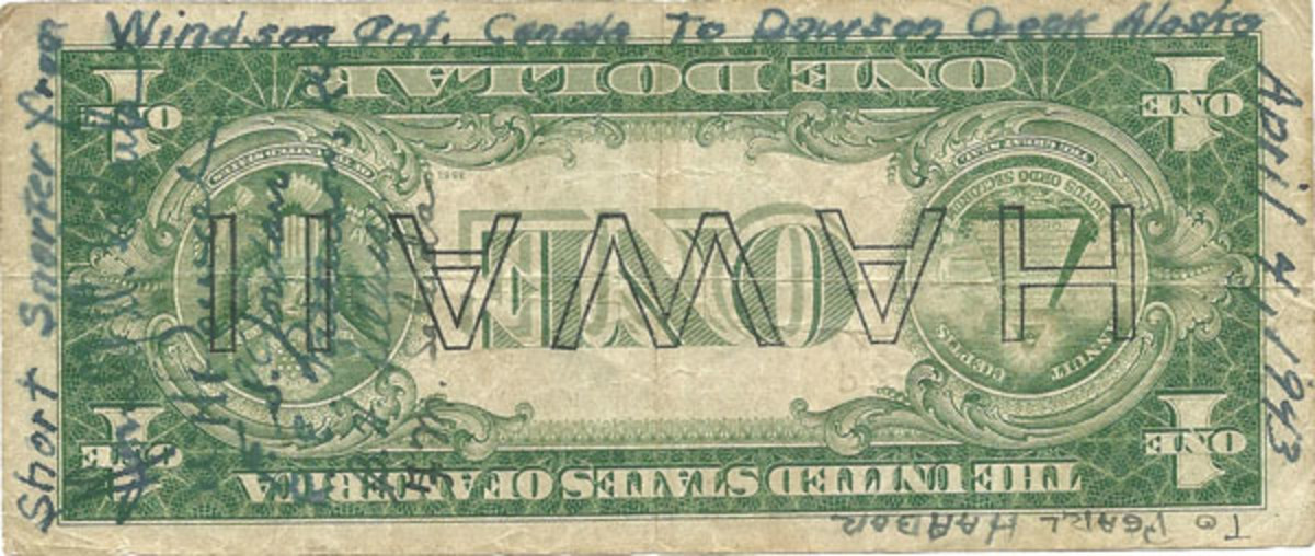 Fig. 8. This Hawaii $1 note bearing signatures of the flight crew records of flight from Windsor, Ontario, Canada to Dawson Creek, Alaska and then on to Pearl Harbor on April 4, 1943.