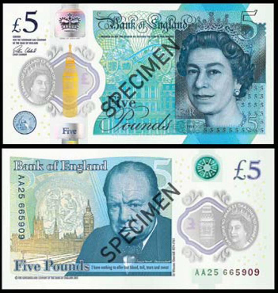 Britain's new £5 note, first issued Tuesday Sept. 13. Images courtesy & © Bank of England.