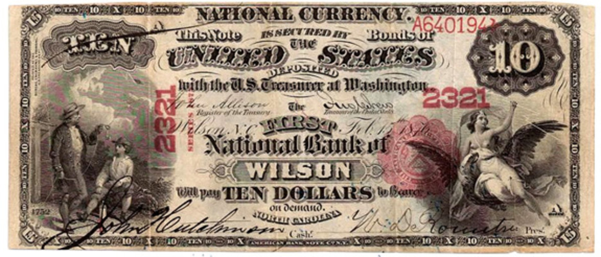 Everything on this #1 Series of 1875 national bank note from Wilson, N.C. – both back and face – was printed by the BEP during 1877 when the report cited herein was written. (National Currency Foundation census photo)