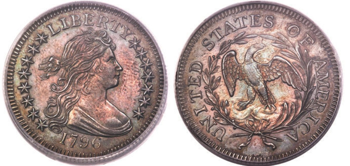 From The Warshaw Family Collection Part II, a 1796 B-2 quarter, graded MS-63, brought $150,000.