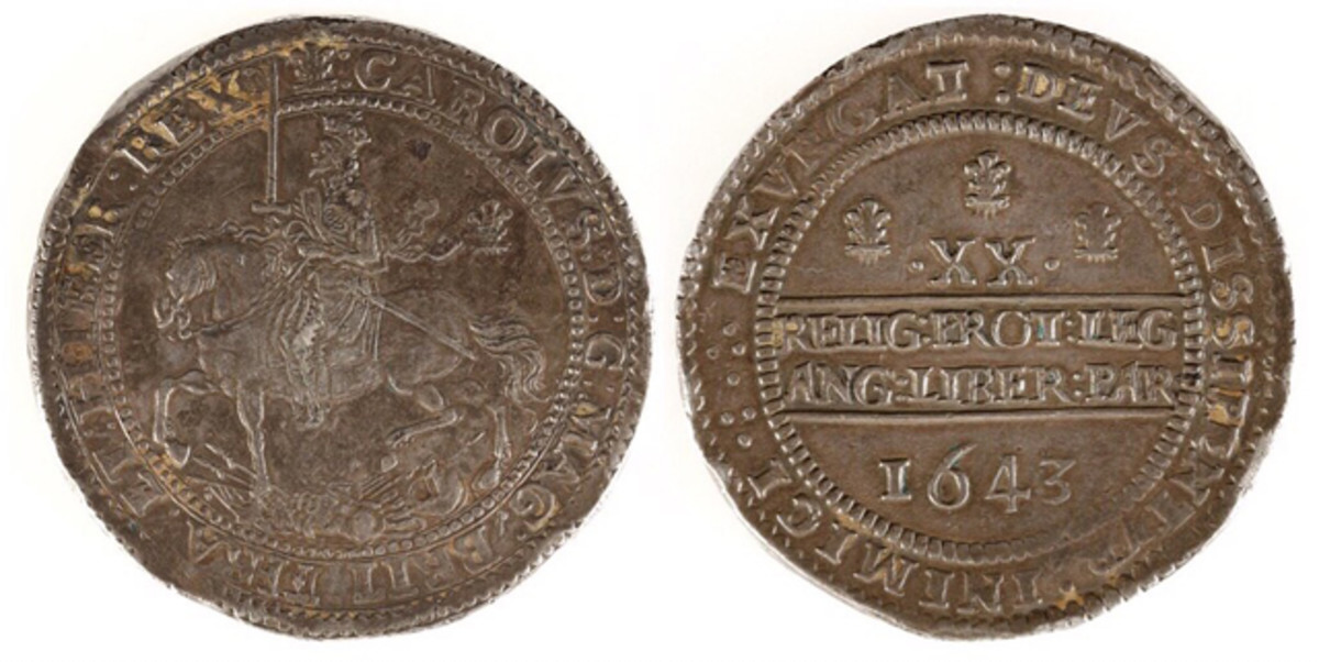Obverse and reverse of the Charles I silver pound coin.