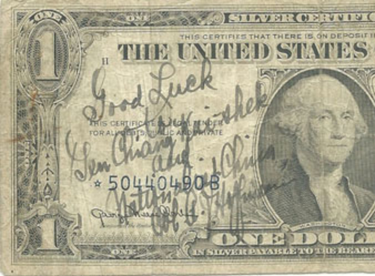 "Fig. 9. Col. Hoffman offers ""Good Luck"" to Generalissimo Chiang kai-Shek and Nationalist China on this 1935-A $1 Silver Certificate, circa 1949."