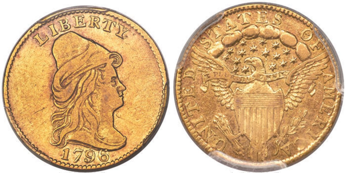 A 1796 Capped Bust quarter eagle, graded XF-45, commanded $144,000.