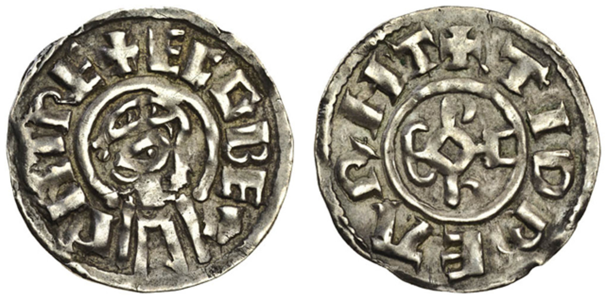 Penny of Ecgberht c. 828-839, struck at the Canterbury Mint by Tidbearht showing a draped and diademed bust; $5,990 in gvF. Image courtesy of and © Spink UK.
