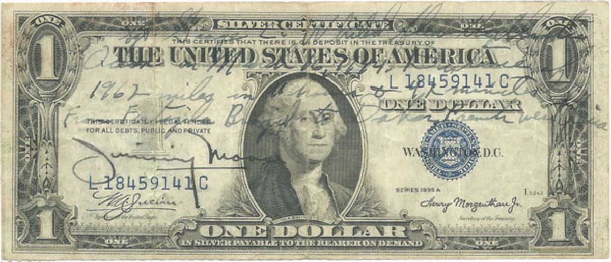 Fig 2. Sgt. George Whited recorded his long flight from Fortaleza, Brazil to Dakar, French West Africa (now Senegal) on this $1 1935-A Silver Certificate.