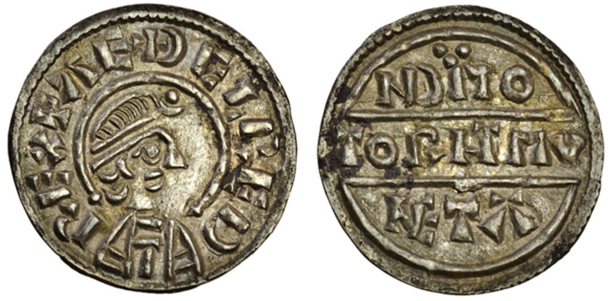 The top price for this collection of $11,232 was paid for a Wessex penny of Aethelred I (865/6-871) struck with Canterbury dies by Torhtmund. A scarce type it came graded EF. Image courtesy of and © Spink UK.