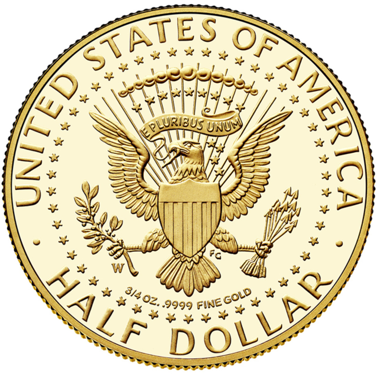 Reverse of the 2014-W Kennedy gold coin