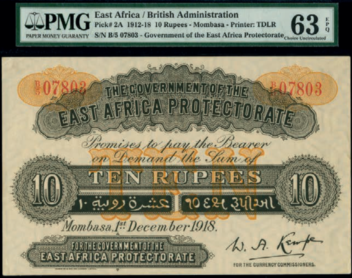 Lot #824 (P-2A), East African Protectorate, 10 rupees, Mombasa, 1 December 1918, PMG Choice Uncirculated 63 EPQ, estimated at £10,000-£14,000 hammered at £33,000. (Photo courtesy of Spink)