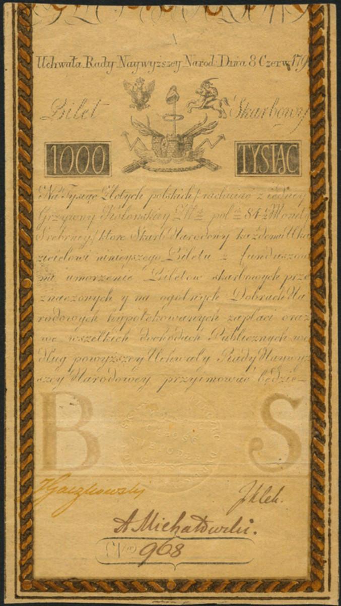 Kingdom of Poland first issue 1000 zlotych of 1794 ex-Pflummer collection (P-A7). In aEF, the estimate is £6,000-6,500. (Image courtesy and © Spink, London)
