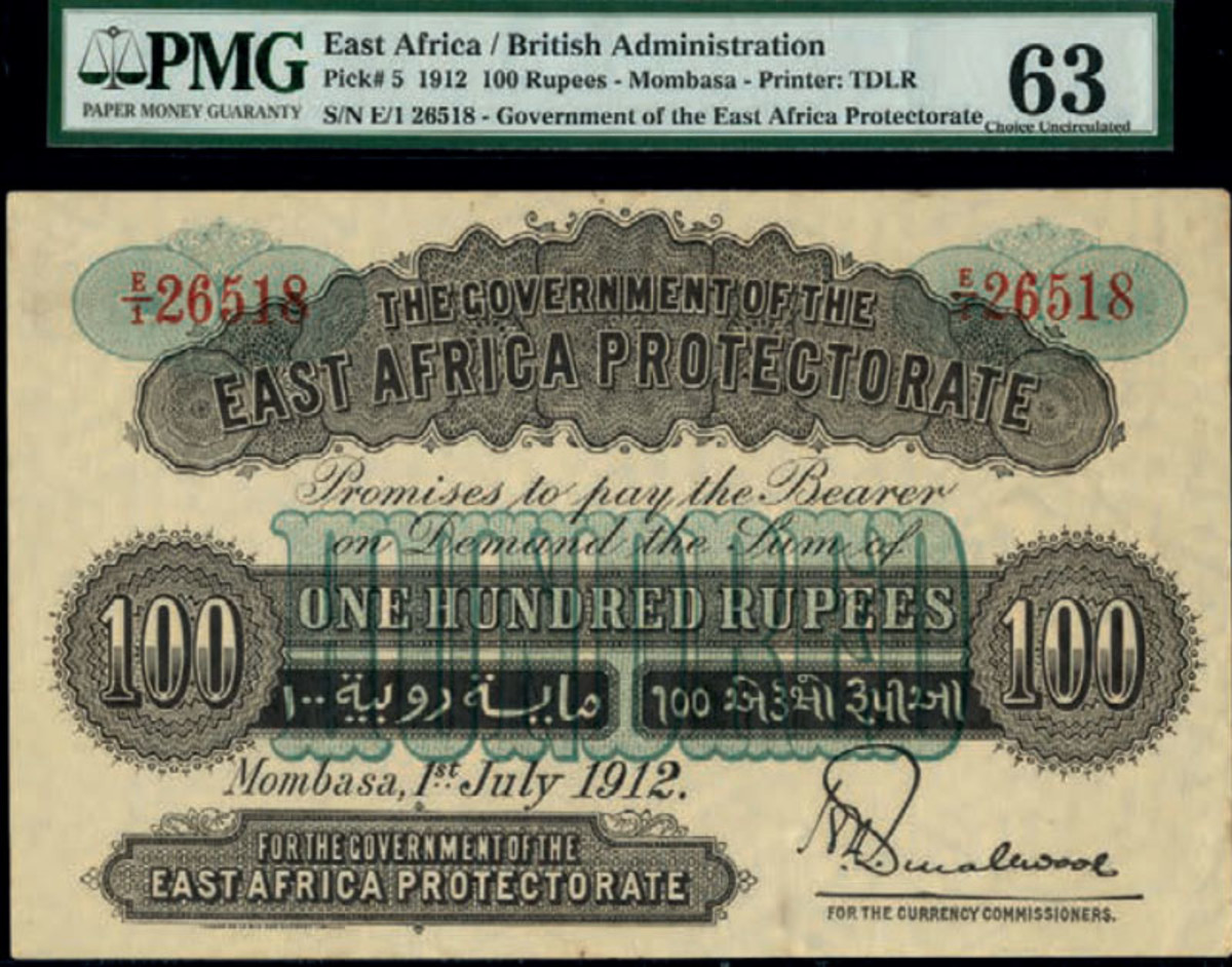 Lot # 827 (P-5a), East African Protectorate, high-denomination 100 rupees, Mombasa, 1 July 1912, estimated at £20,000-£30,000 hammered at £33,000. (Photo courtesy of Spink)