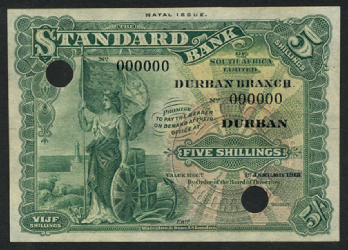 WWII pearl of great price: extremely rare Gouvernement General de l'Afrique Équatoriale Française 1000 francs of 25 October 1940 (P-4). It carries an estimate of £12,000-16,000 in PMG-55 About Unc. (Image courtesy and © Spink, London)