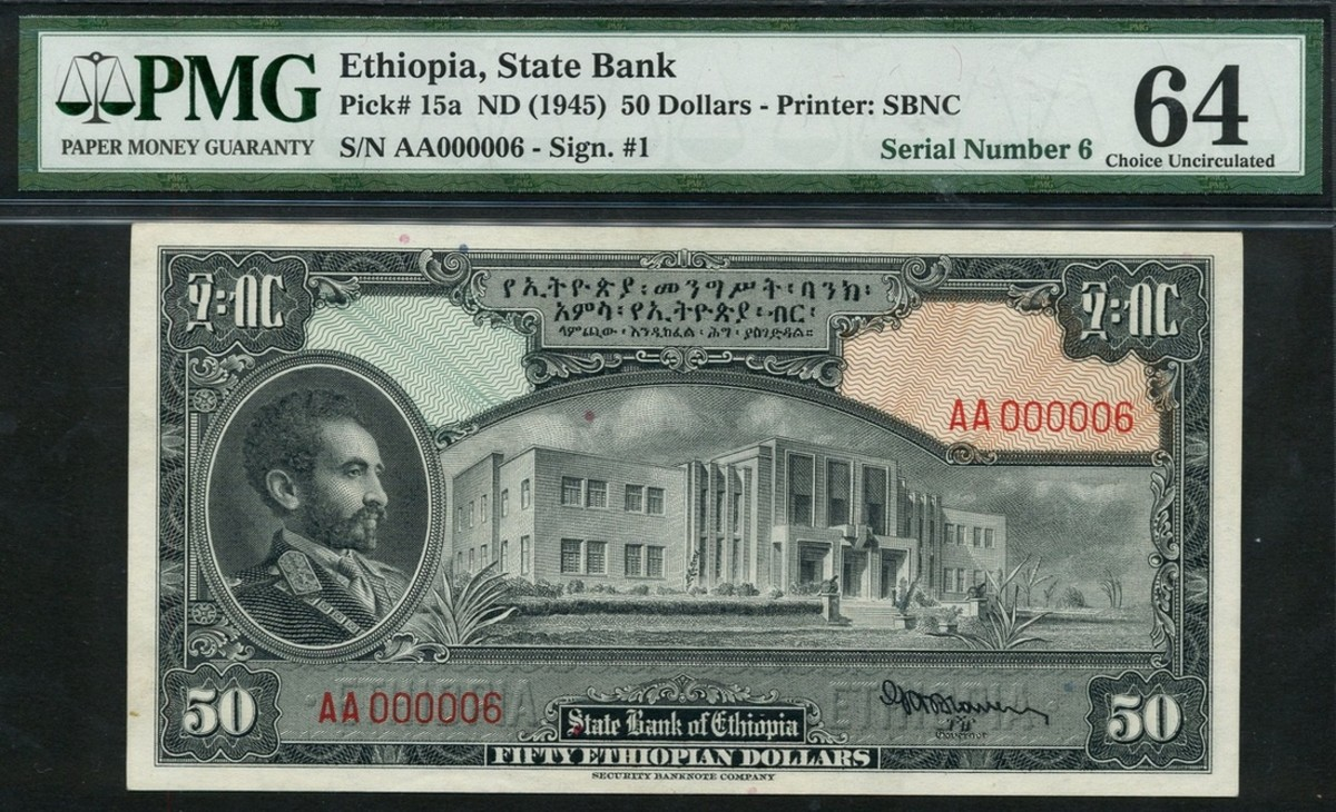 Lot x1377 (P-15a) State Bank of Ethiopia, $50, 1945, low serial number, AA 000006, estimated at £400-£600 realized £26,000. (Photo courtesy of Spink)