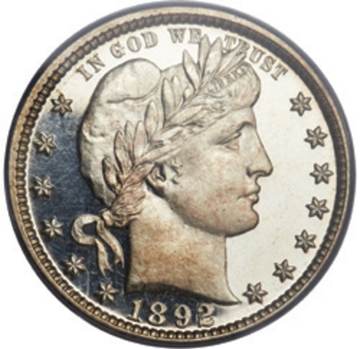 In 1892, the Barber design was unveiled on U.S. dimes, quarters, and half dollars, and it stayed there until 1916.