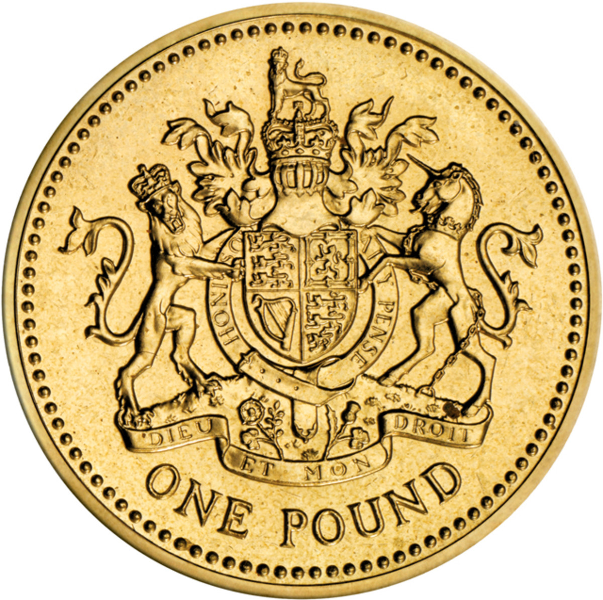 Reverse of Britain's first circulating round pound, KM#933, issued 33 years ago in 1983 as a replacement for the one pound note. Image courtesy and © The Royal Mint.