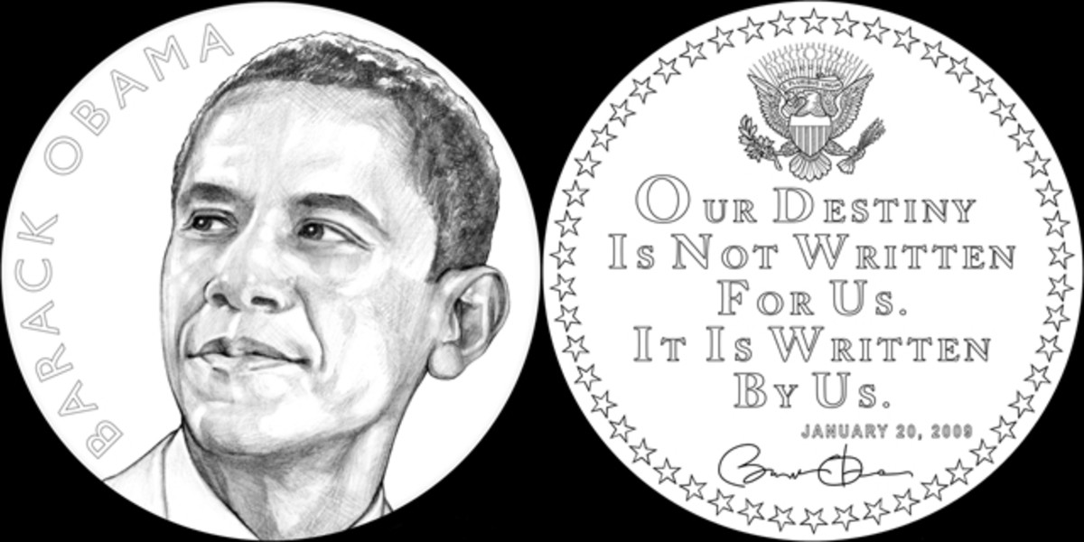 A forward facing Obama and quote from his first term inauguration address on the