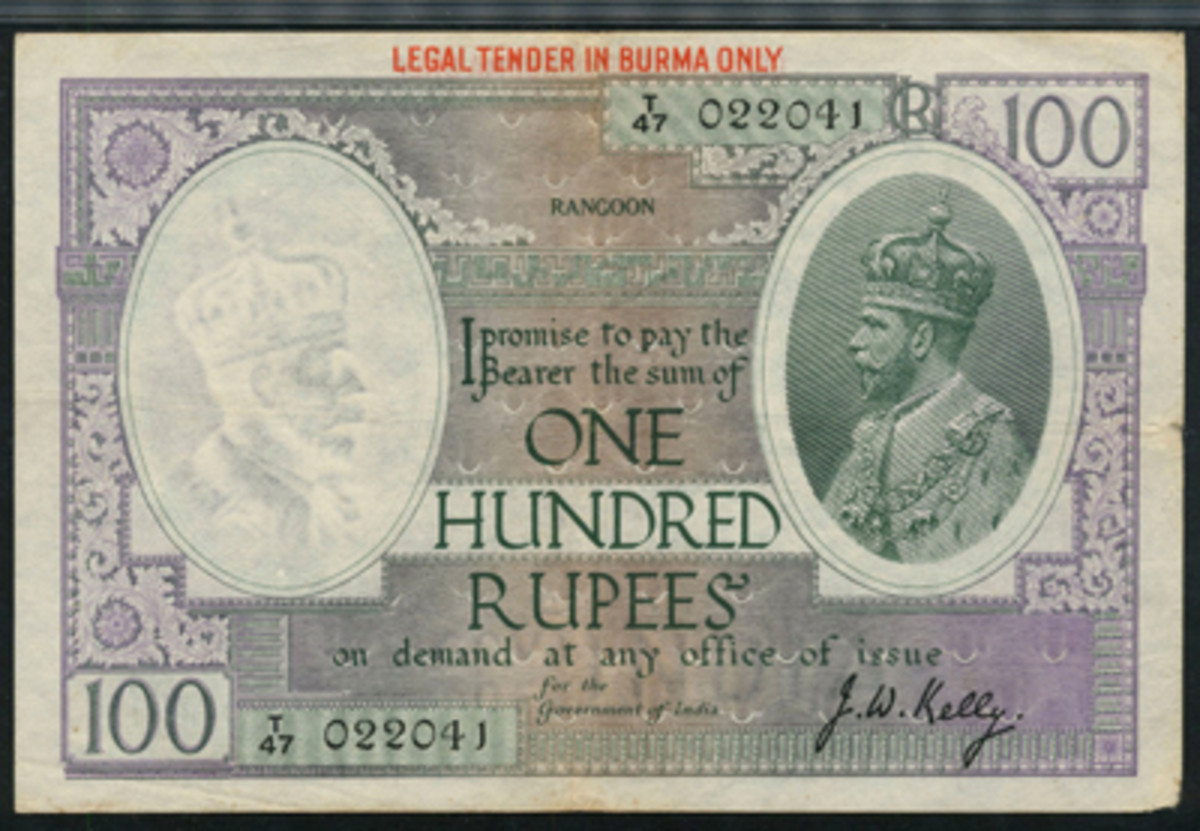 Seldom seen, let alone offered: Burmese George V 100 rupees overprint of 1937 (P-3a). Graded PMG-25 Very Fine, it has an estimate of £20,000-25,000. (Image courtesy and © Spink, London)