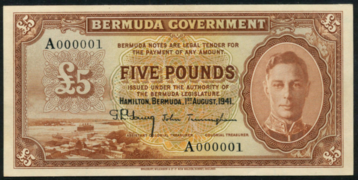 Ultimate rarity: Bermuda £5 of George VI with serial A000001. In PMG-58 Choice About Unc, the estimate is an eye-watering £40,000-60,000. (Image courtesy and © Spink, London)