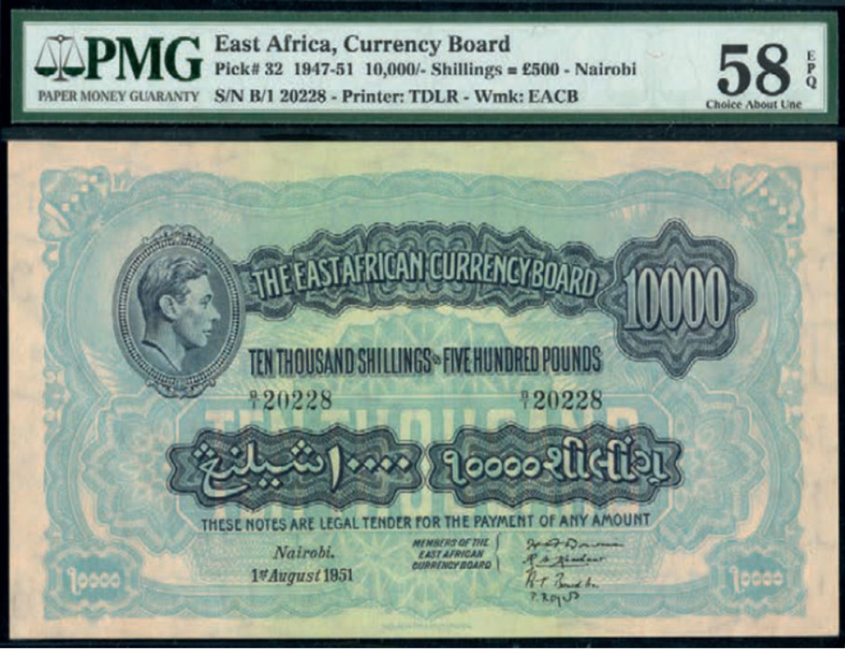 Lot #840 (P-32a), The East African Currency Board, 1951, 10,000 shillings/£500, Nairobi, 1 August 1951, realized £76,000. (Photo courtesy of Spink)