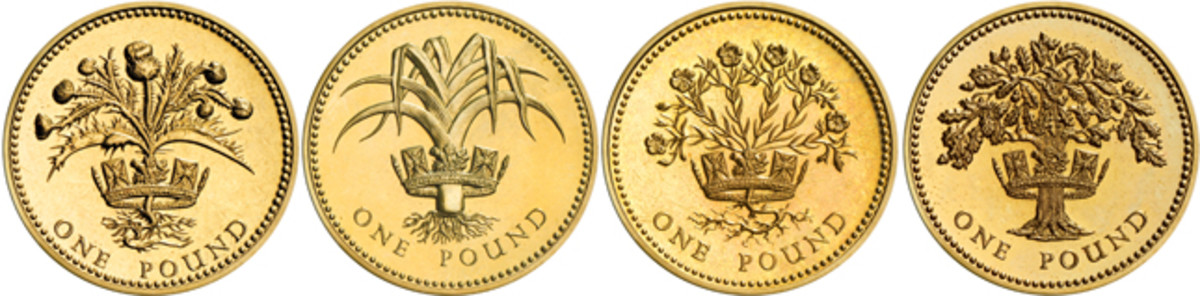 The different reverses by Leslie Durbin of the first four round pounds to show national symbols of Scotland (KM#934, -959), Wales (KM#941), Northern Ireland (KM#946), and England (KM#948). Images courtesy and © The Royal Mint.