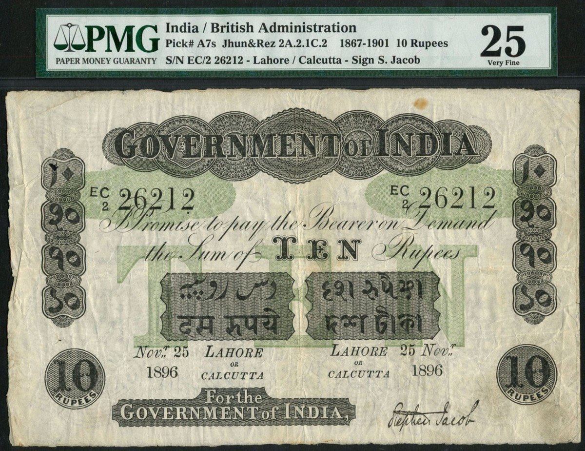 Lot #1065, Government of India 10 rupee bank note, P-A7i hammered for £16,000. (Photo courtesy of Spink)