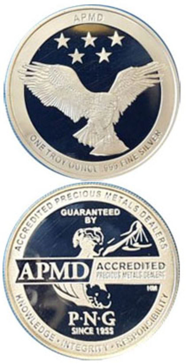 An eagle and the Roman goddess Aequitas are design features on the new one-ounce silver round issued by the Professional Numismatists Guild.