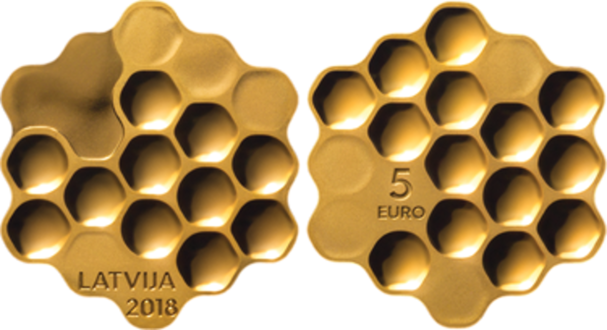 Bank of Latvia's 2018-dated Honey Coin, a gold-plated silver 5 euro, has been named the 2020 Coin of the Year.
