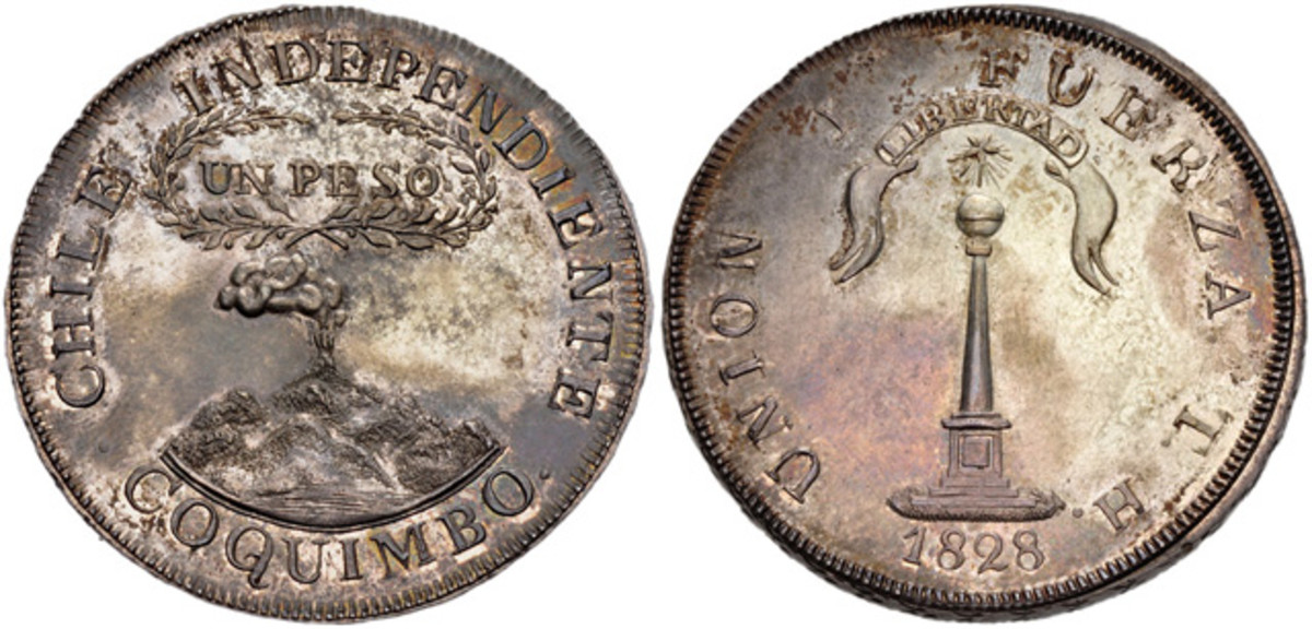 Chile, 1828 H Coquimbo Peso, NGC MS-63, Lot 970747