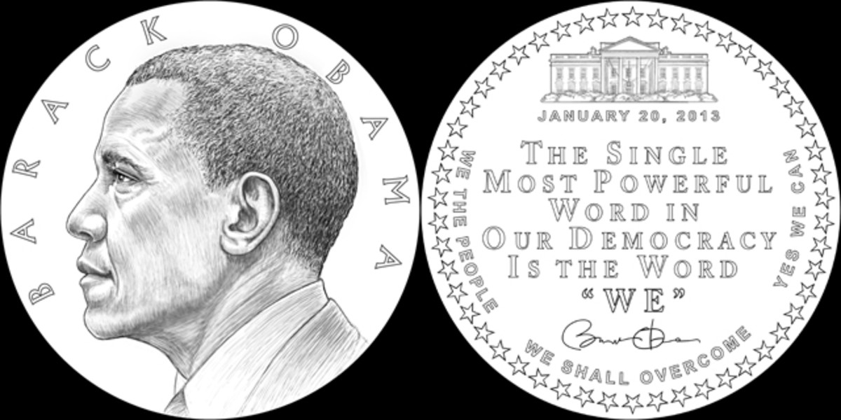 For the second-term presidential medal, the CFA voted in favor of a left facing Obama side portrait and a quote from his 50th anniversary of the Selma Marches speech.