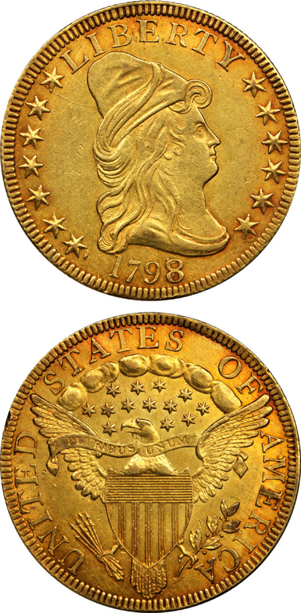 Topping the bidding at $352,500 was this 1798/7 gold $10.