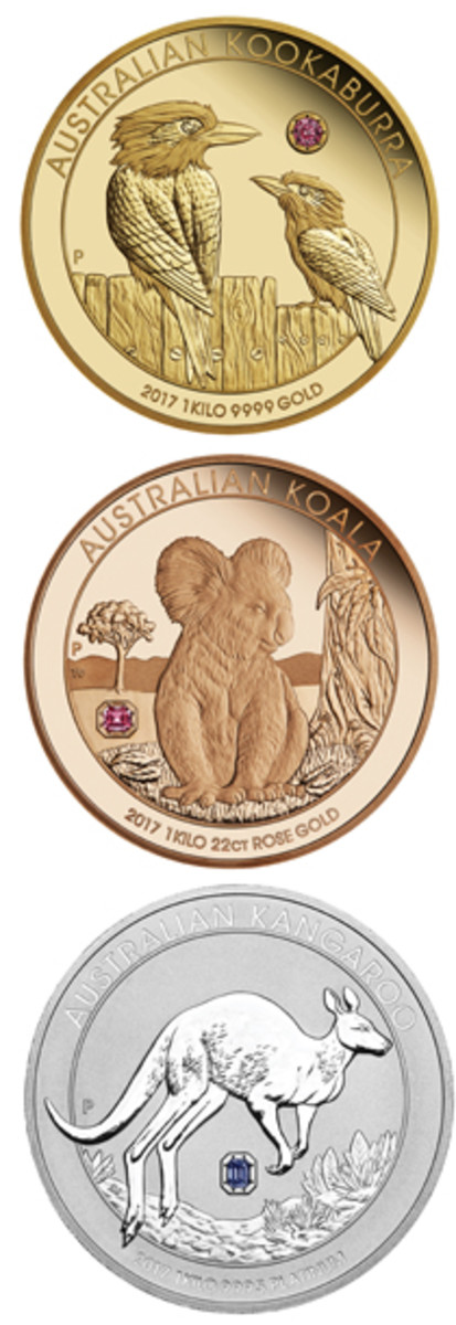 Reverses of the three Australian Trilogy $5,000 proof coins, each with an embedded fancy colored Argyle diamond. From top: .9999 gold Kookaburra, .9167 fine rose gold Koala, and .9995 platinum Kangaroo. (Images courtesy The Perth Mint)