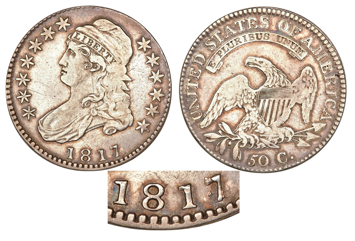 1817 Overdate Half Dollar with Caption:  One of the rarest Capped bust half dollars is the 1817/4 overdate. (Image courtesy of Heritage Auctions)