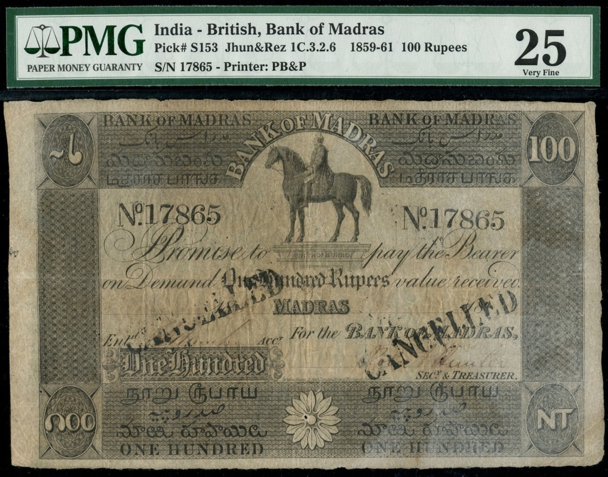 Lot #1055 India, Bank of Madras 100 rupee note hammered at £7,000. (Photo courtesy of Spink)